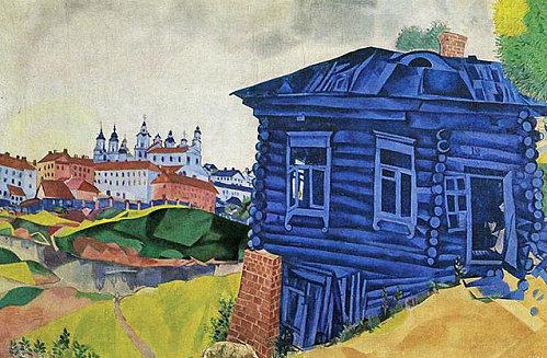 La maison bleue de chagall mus e des beaux arts de li ge au fond on aper oit l glise russe - La maison bleue chanson ...