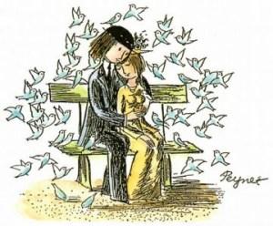 Les amoureux qui s'bécotent sur les bancs publics, bancs publics...
