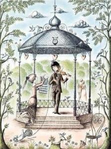 """Le premier dessin de Peynet """"le kiosque""""."""