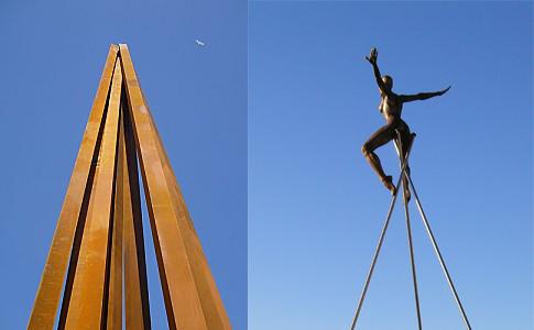 L'obélisque de Bernard Venet à Nice et la femme nue de Nicolas Lavarenne au Cros-de-Cagnes
