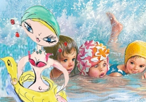 Griotte apprend à nager