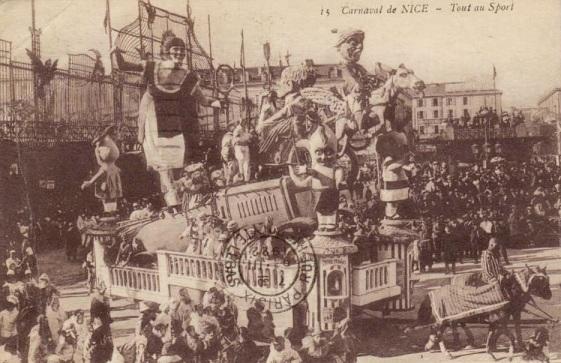 Suzanne Lenglen, vedette du char Tout au sport, Carnaval de Nice 1922