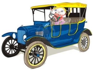 Griotte en voiture ancienne