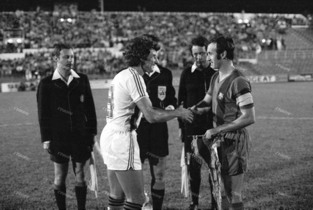 André Chorda et Juan Carlos, les deux capitaines de Nice-Barcelone 1973