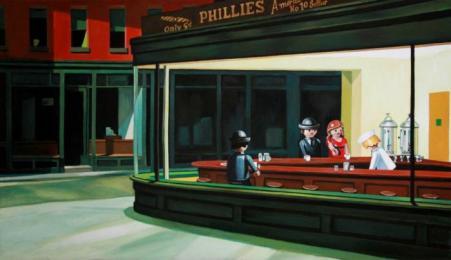 D'après Hopper (1942), Nighthawks