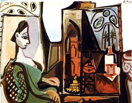 Jacqueline dans l'atelier par Picasso (1956). On reconnait la grande fenêtre aux contours baroques ouvrant sur le jardin de la villa Californie