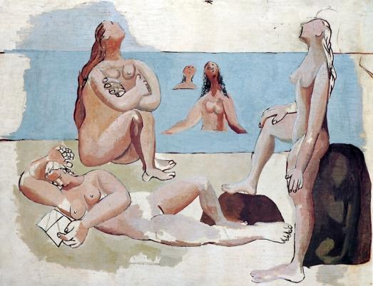 Picasso baigneuses regardant un avion (1920)