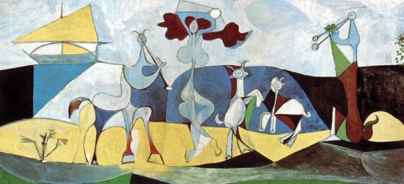 Picasso La joie de vivre été 46. Il s'installe à l'étage supérieur du château d'Antibes pour y travailler cinq mois et peint le bonheur de travailler dans la paix reconquise