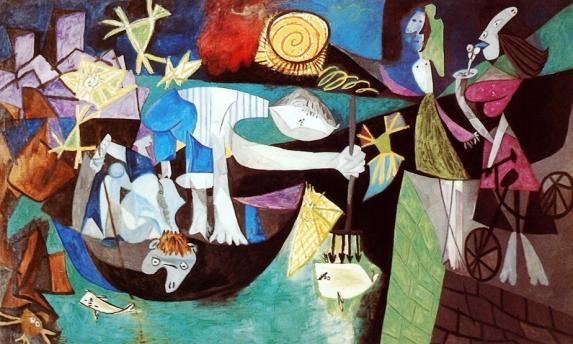 Picasso - Pêche de nuit à Antibes 1940 Au fond à gauche les deux tours du musée Grimaldi qui deviendra le musée Picasso