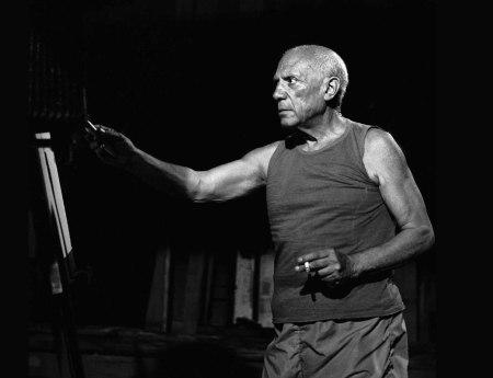 Picasso surl e tournage du Mystère Picasso d'Hri-Georges Clouzot dans les Studios de la Victorine à Nice (1956)