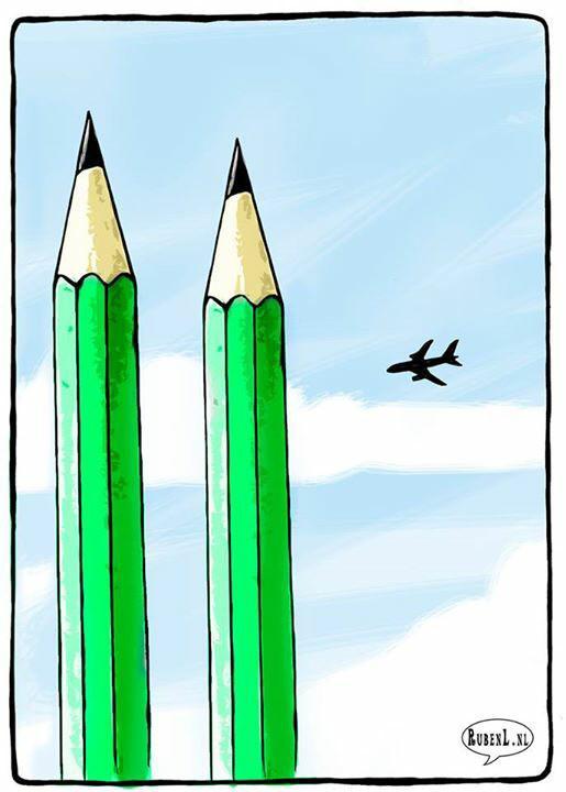Ruben L. Oppenheimer, dessinateur néerlandais, dresse, quant à lui, un tragique parallèle entre cet attentat et celui des tours jumelles du World Trade Center en 2001