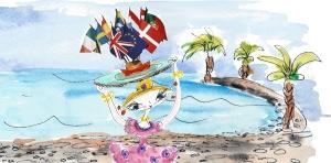 Griotte drapeaux plage