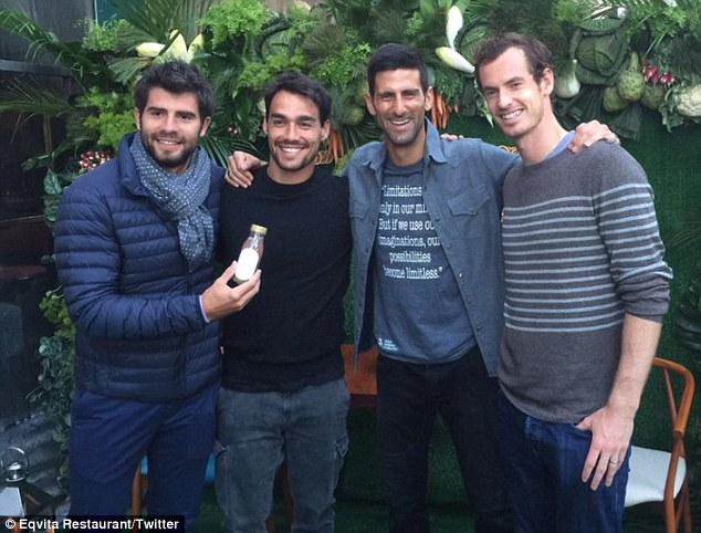Andy Murray, Novak Djokovic et Fabio Fognini à l'ouverture de Eqvita