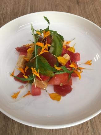 L'ARAZUR Tomates couleurs de pays, pastèque et sablé de parmesan